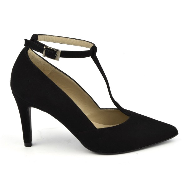 Escarpins cuir daim noir à brides , Brenda Zaro, F1684