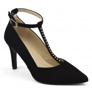 Escarpins cuir daim noir à brides, strass Swarovski , Brenda Zaro, F1684