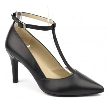 Escarpins cuir mat noir à brides , Brenda Zaro, F1684