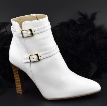 Bottines cuir mat blanches, F2398