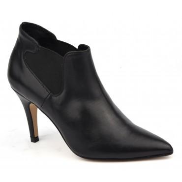 Bottines low boots, cuir mat noir, 15314, petites pointures, Pierre Cardin