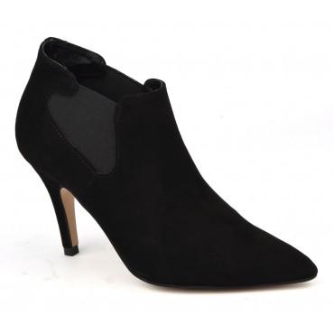 Bottines low boots, cuir daim noir, 15314, petites pointures, Pierre Cardin