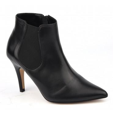 Bottines femme, cuir mat noir, 17511 petites pointures, Pierre Cardin