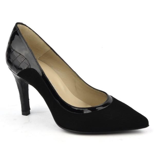 Escarpins cuir daim, noir, bouts pointus, F1624, petites tailles