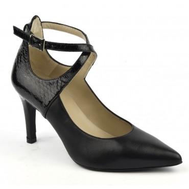 Escarpins cuir mat noir et cuir croco verni à brides croisées , Brenda Zaro, F1682