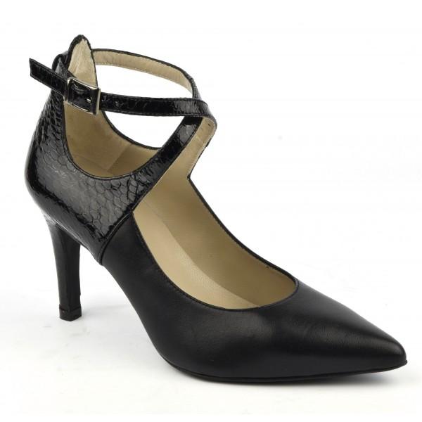 Escarpins cuir mat noir et cuir verni à brides croisées , Brenda Zaro, F1682