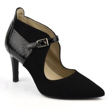 Escarpins cuir daim, noir, bouts pointus, brides, F1683, petites tailles