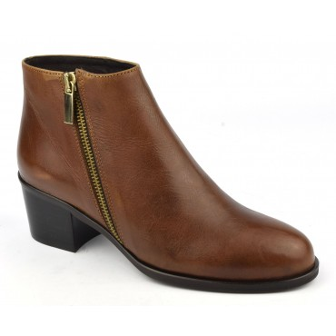 Bottines intemporelles, cuir mat marron, 5632, Plumers