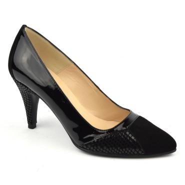 Escarpins plateau, Fashion, cuir daim noir, MI-118