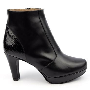 Bottines plateforme, cuir mate, noire, Brenda Zaro, petites pointures, F97510, Lady