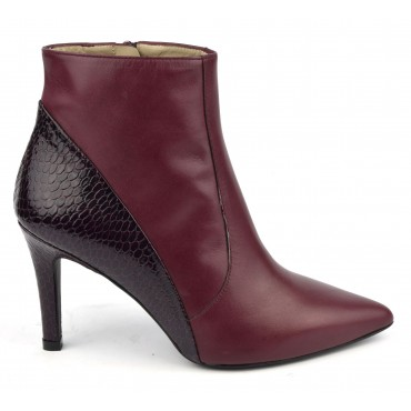 Bottines, bouts pointus, cuir mat bordeaux et croco verni bordeaux, Brenda Zaro, F97560