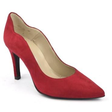 Escarpins cuir, daim rouge, Brenda Zaro, F1059A, téva