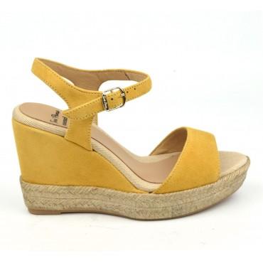 Sandales Agnes-A, cuir daim, jaune ambre, Toni Pons, version été 2018