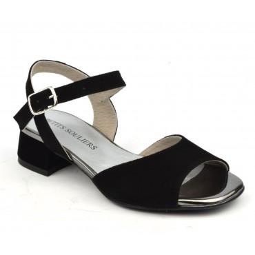 Sandales cuir daim noir, F2703, Petits Souliers