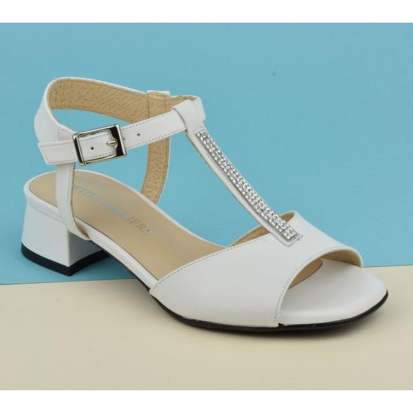 Sandales cuir mat blanc, F2702, Petits Souliers