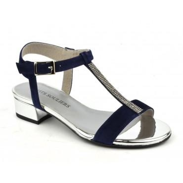 Sandales cuir daim bleu marine, F1461, Petits Souliers