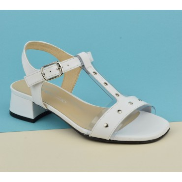 Sandales cuir mat blanc, 2743A, Petits Souliers