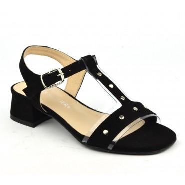 Sandales cuir daim noir, 2743A, Petits Souliers