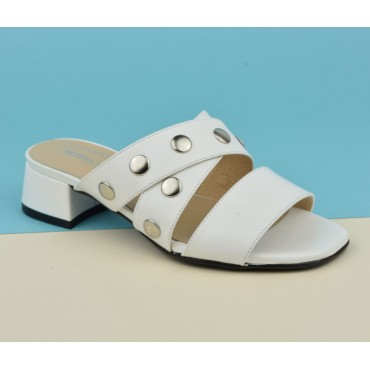 Mules cuir mat blanc, 2723, Petits Souliers