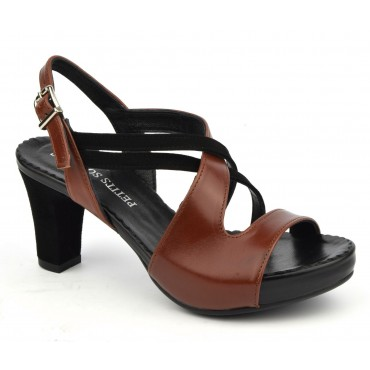 Sandales ultra confort, cuir lisse marron, 3937 Plumers