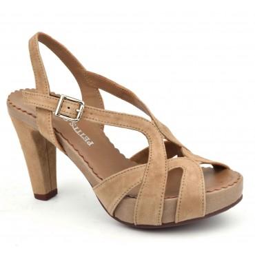 Sandales plateforme, suedine, nude, 3938, Plumers