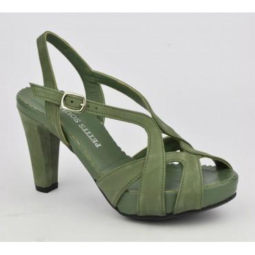 Sandales plateforme, cuir suedine, vert kaki, 3938, Plumers