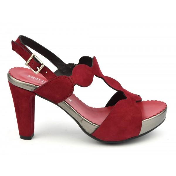Sandales plateforme, cuir daim rouge, 3949, Plumers