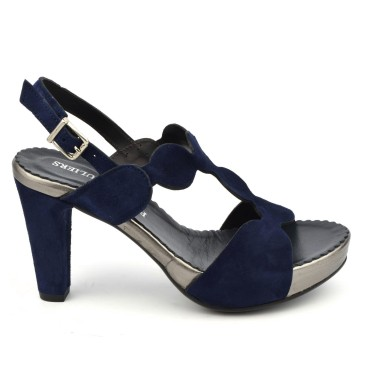 Sandales plateforme, cuir daim bleu marine, 3949, Plumers