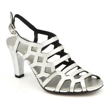 Sandales habillées, cuir argenté 3918, Plumers