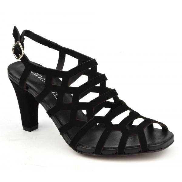 Sandales habillées, daim noir 3918, Plumers