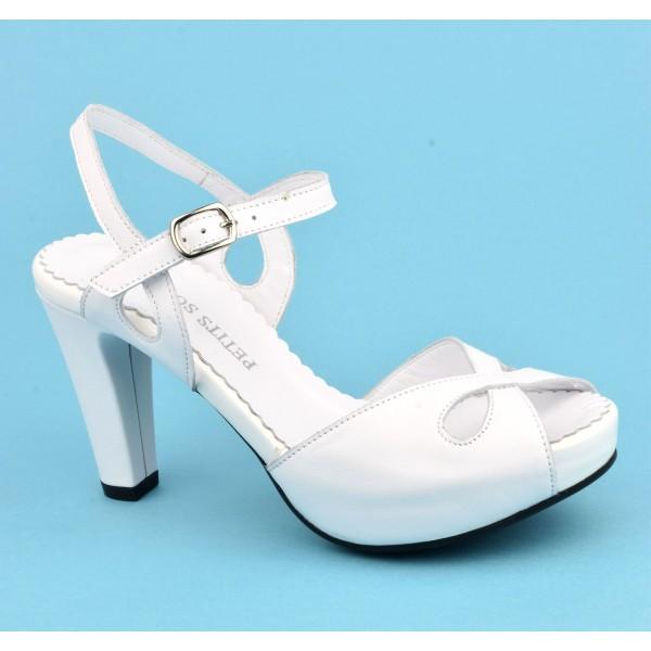 Sandales plateforme, cuir mat blanc, 3954, Plumers