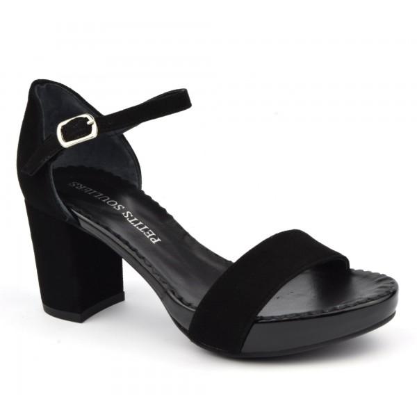 Sandales cuir daim noir, 3930, Plumers