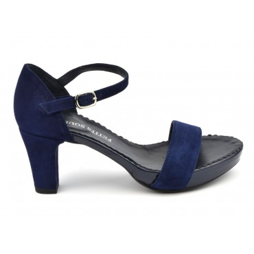 Sandales cuir daim bleu marine, 3930, Plumers