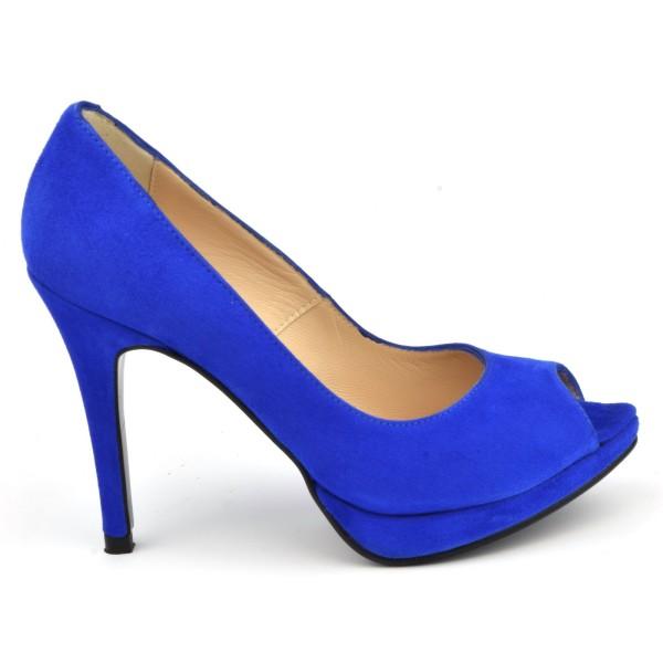 Escarpins plateforme, cuir daim bleu royal, bouts ouverts, 8643, Yves de Beaumond, V2018