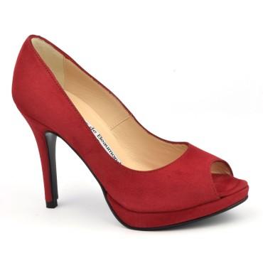 Escarpins plateforme, cuir daim rouge, bouts ouverts, 8643, Yves de Beaumond, V2018