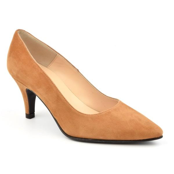 Chaussure, escarpins, femme petite pointure, F97803, Brenda Zaro, daim cognac, vue diagonale