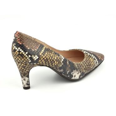 Sandales cuir effet écaillé, métallisé argent, talon liège, ZC0005, Zoo Calzados