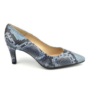 Escarpins Cuir Imprimé Python Bleu, LS1406, Brenda Zaro