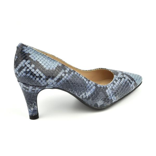 Chaussures compensées , cuir mat beige et jean, talon liège, ZC0110C, Zoo Calzados