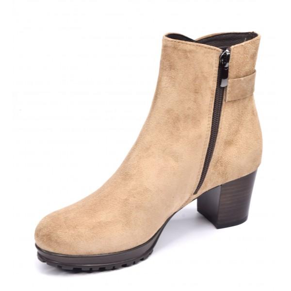 Sandales coque, talons compensés, cuir daim, noir , XA0287, Zoo Calzados