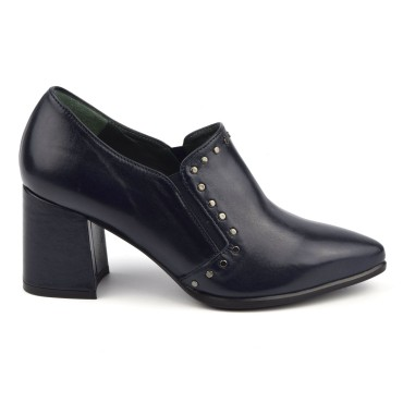 Low Boots Cuir Lisse Bleu Marine, 4973, Plumers