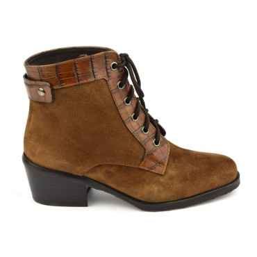 Bottines Lacets Daim Cognac, 5889, Plumers