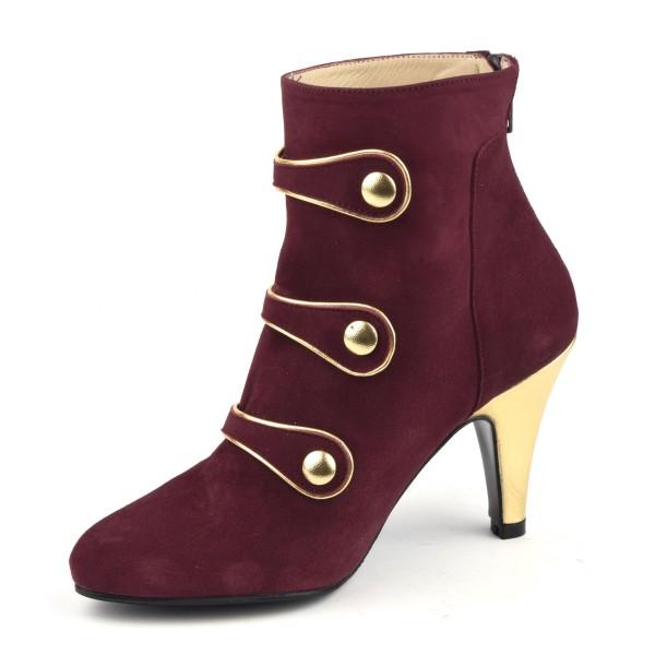 Sandales, cuir fantaisie, talons compensés, daim rouge, MI-350, Yves de Beaumond