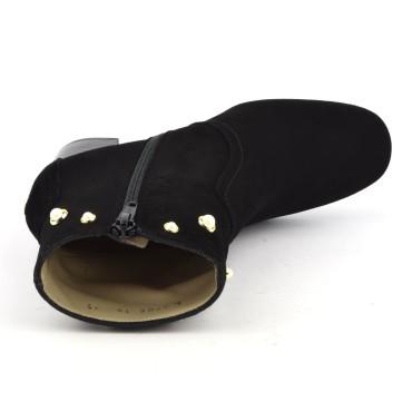 Sandales cuir daim noir, Flora, Yves de Beaumond