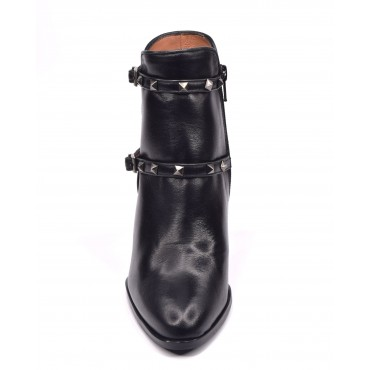 Bottines, plateforme cuir lisse noir, 5782, Plumers Menorca