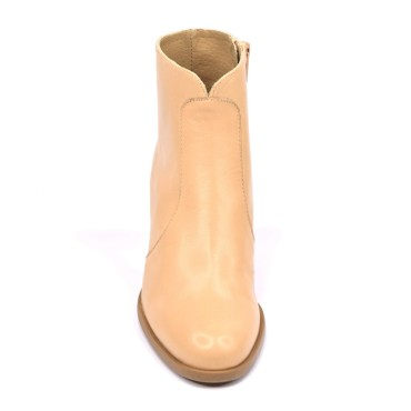 Bottines, bouts pointus, cuir lisse, taupe, 5757, Plumers Menorca
