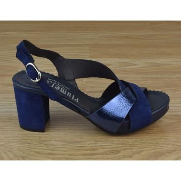 Sandales Plateforme,Cuir Bleu, 3312, Plumers
