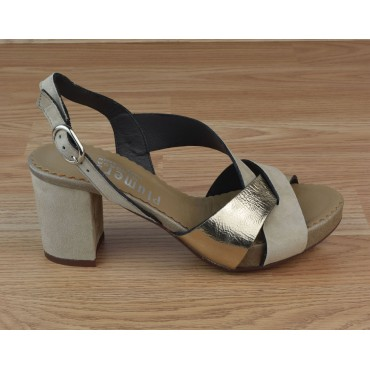 Sandales Plateforme, Daim Beige, 3312, Plumers