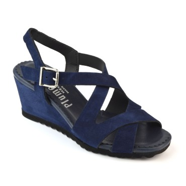 Sandales Compensées, Daim Marine, 3239 Plumers