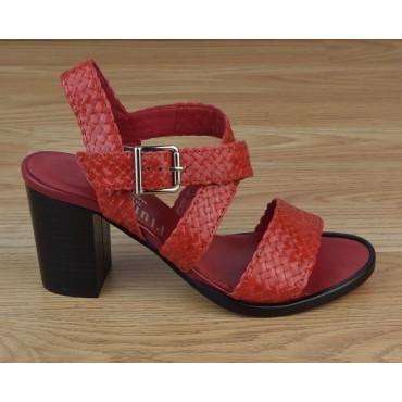 Sandales Cuir Tressé Rouge, 3204, Plumers